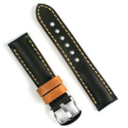 22mm black tartan watch band with oak leather
