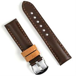 24mm brown tartan leather watch band strap