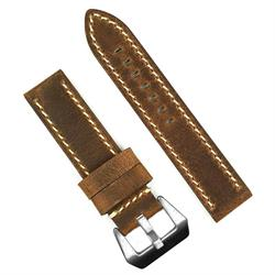 Panerai Vintage Watch Band Strap in Brown Crazy Horse with White Stitching