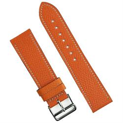 BandRBands 22mm Orange Hermes Watch Band Strap made from French Textured Leather with classic white stitching