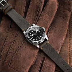 22mm Vintage Horween Classic Vintage Watch Strap Band made from distressed horween leather on a Tudor Black Bay Dive Watch