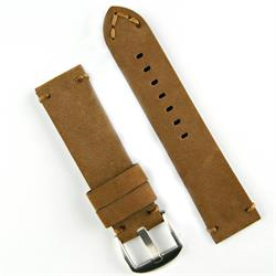24mm Classic Vintage Watch Band Strap made from brown sueded Leather