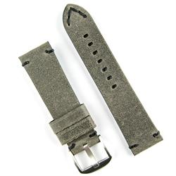 24mm Gray Vintage Leather Watch Band Strap with handsewn black stitching
