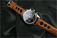BandRBands 22mm honey brown leather rally strap on Bell and Ross Watch