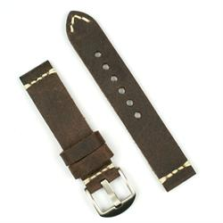 20mm BandRBands Watch Band in a saddle brown vintage leather with a minimal stitch design