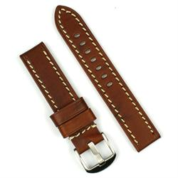A 20mm watch Band made from vintage wood leather with white stitching