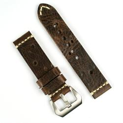 22mm vintage watch band in antique brown leather with holes in the leather