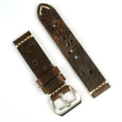 BandRBands Panerai Vintage Leather Watch Band Strap made from Antique Brown Italian smooth leather with a minimal ivory stitch