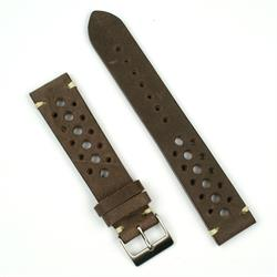20mm 22mm vintage Rally Racing Watch Strap Band made from Italian Leather with handsewn ecru stitching