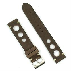 22mm vintage rallye watch strap band in brown leather with ecru stitching