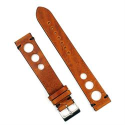 20mm 22mm vintage Rally watch Strap Band made from Cognac Italian Leather with black handsewn stitching