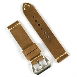 22mm watch band strap in field drab vintage leather with a minimal ivory stitch