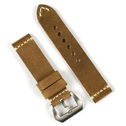 Panerai Vintage Leather Watch Band Strap made from Field drab Italian smooth leather with a minimal ivory stitch BandRBands