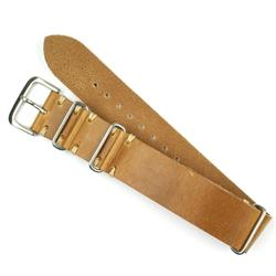 22mm Oak Vintage Leather Nato Watch Strap with ecru Stitch