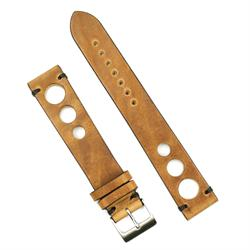 22mm Classic Vintage Rallye Strap Watch Band in Oak Italian Leather with Black Stitching