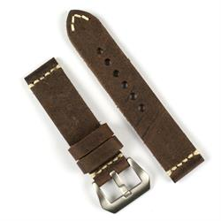 BandRBands Panerai Vintage Leather Watch Band Strap made from Saddle Brown Italian smooth leather with a minimal ivory stitch