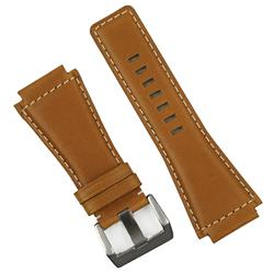 Bell and Ross BR01 BR03 replacement leather watch band strap made from tan chorween calf leather with a contrast white stitching