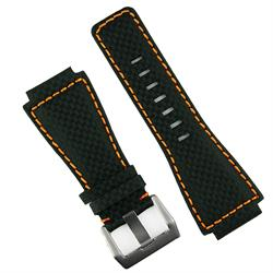 Carbon Fiber Watch Strap Band for Bell and Ross BR01 and BR03 watches with orange stitching