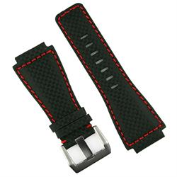 Bell and Ross Carbon Fiber Red Stitch Leather Watch Band Strap for all BR01 and BR03 models