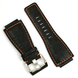 Bell and Ross replacement watch strap in black gator leather with orange stitching