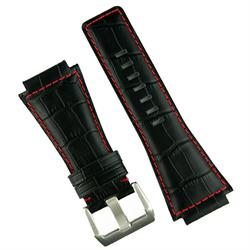 Bell and ross watch strap in black gator leather red stitch