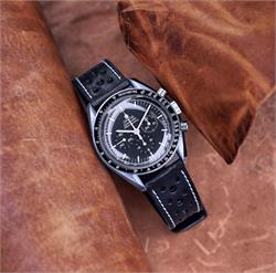 Omega Speedmaster Racing Watch Band Strap made from stunning black Italian Leather with a white classic stitch