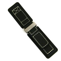 Leather Velcro Watch Band Strap with white stitching and stainless steel buckle 24mm