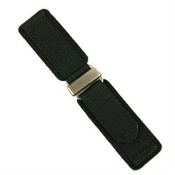 24mm Nylon Velcro Watch Band Strap in Black with a Stainless Steel Buckle