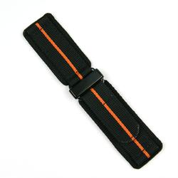 24mm Velcro Watch Band in black quality nylon with an orange stripe and PVD buckle