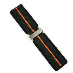 24mm Black Nylon Velcro Watch Band with an Orange stripe and a stainless steel buckle