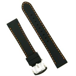 BandRBands 20mm Silicon Watch Band Strap Black with Orange Stitch