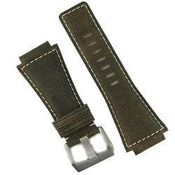 replacement watch strap for bell and ross in brown bomber leather with white stitching