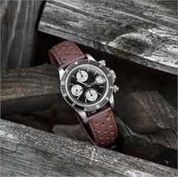 BandRBands 20mm Brown Grand Prix Leather Watch Band Strap on a vintage Tudor Big Block Chronograph