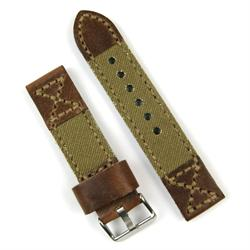 24mm Watch Band in Chestnut Leather with Drab Olive Canvas