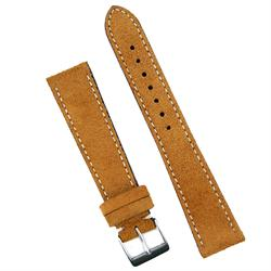 19mm Camel Italian Classic Suede Watch Band Strap with white stitching sewn by hand B & R Bands
