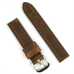22mm vintage watch band strap in dark brown crazy horse leather