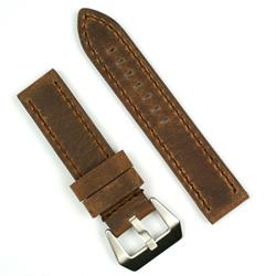 Panerai Style Watch Band Strap in Dark Brown Leather