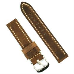 20mm watch band in dark brown crazy horse leather with white stitching