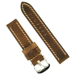 22mm vintage watch band strap made from dark brown crazy horse leather with white stitching