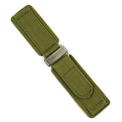 24mm Military Style Velcro Watch Band made from quality drab olive nylon with a stainless steel buckle