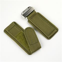 20mm Nylon Velcro Watch Band Strap in Drab Olive Military design with a stainless steel buckle