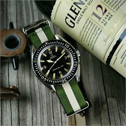 BandRBands 20mm Olive Khaki Nato Strap Band on a Vintage Omega Seamaster300