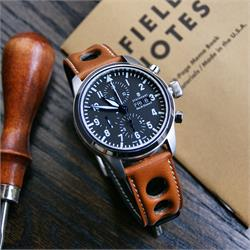 BandRBands 22mm Horween Leather Rally Watch Strap on a Steinhart pilot Watch