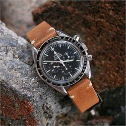 20mm Vintage Leather Watch Band Strap on the Omega Speedmaster Professional BandRBands