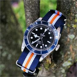 22mm Monte Carlo Watch Strap Band on the Tudor Black Bay Blue watch