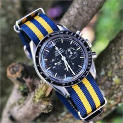 BandRBands 20mm Yellow Navy Nato Strap Band with stainless steel hardware