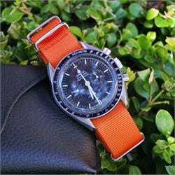 20mm Orange Nylon Nato strap band on a Omega Speedmaster watch