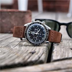 BandRBands Brown Suede Watch Strap Band on the Omega Speedmaster Professional