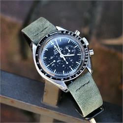 20mm Birch Vintage Suede Watch Band Strap on the Omega Speedmaster Proffesional