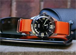 BandRBands 20mm Orange Nato Watch Strap Band on the Oris 65 Diver